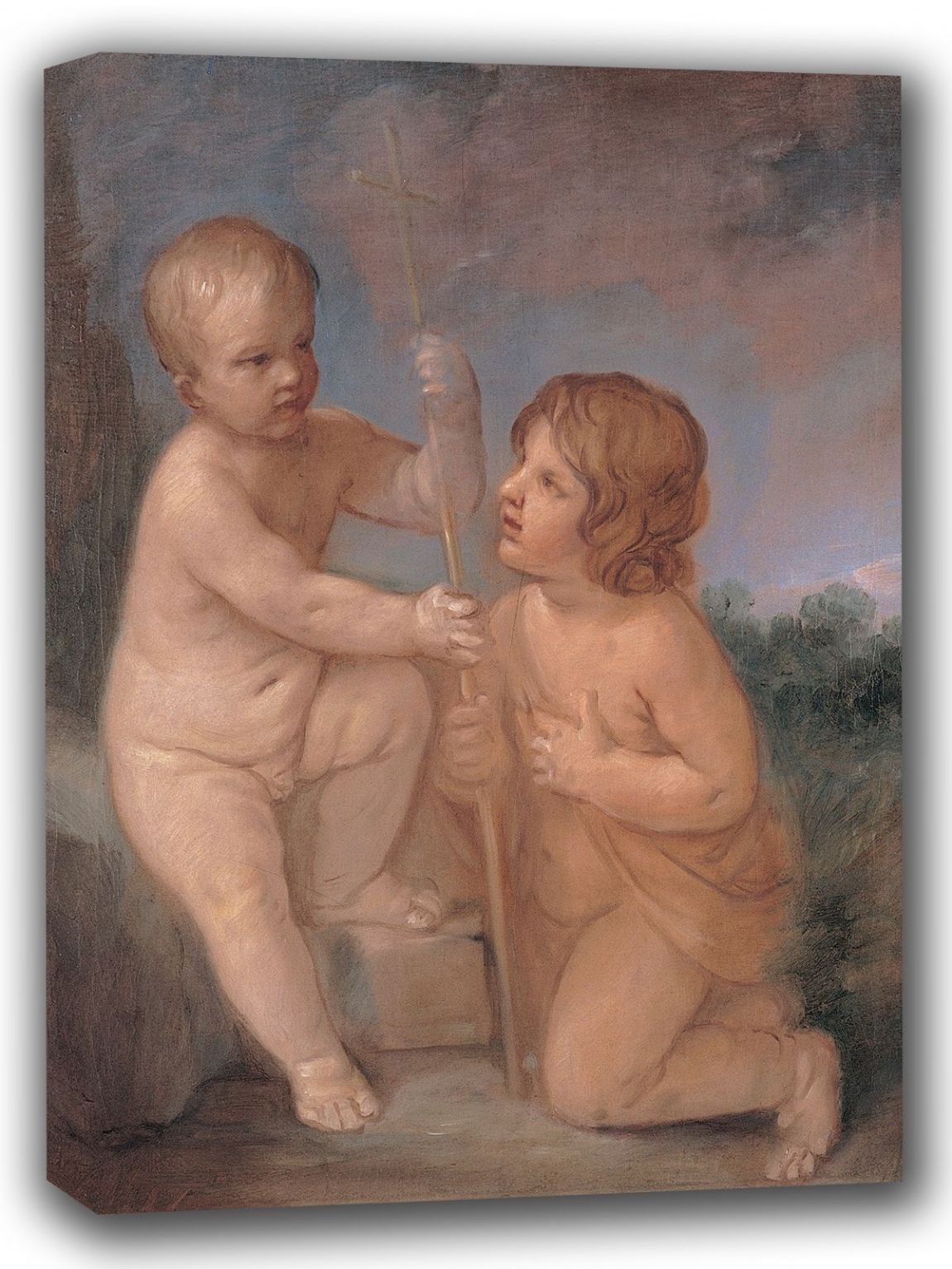 Reni, Guido: The Infant Jesus and St. (Saint) John. Fine Art Canvas. Sizes: A4/A3/A2/A1 (002101)